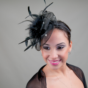 Quickview Horse hair fascinator with rhinestones front ... 4819d167ba2